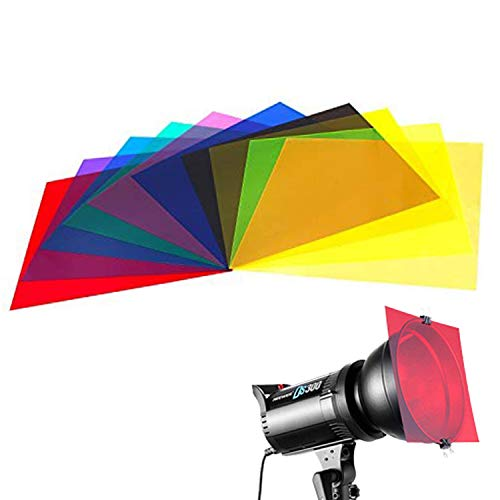 10 Pieces Colored Overlays Light Gels Transparency Color Film Plastic Sheets Correction Gel Light Filter Sheet