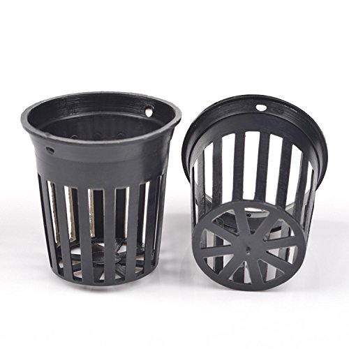 1.75' Flower (KLOUD City 20pcs 1.75-inch Black Slotted Mesh Net Plant Pot / Cup / Planter / Flowerpot for Orchid / Aquaponics / Hydroponics)