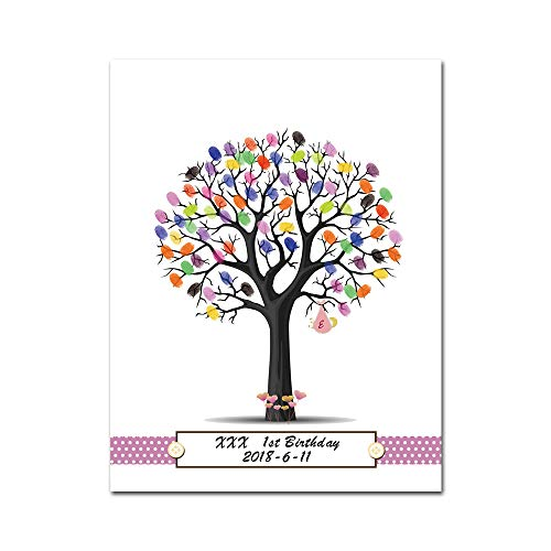 Mesno DIY Wedding Guest Book Fingerprint Tree Guestbook with Ink Pad Thumbprint Canvas Signature Sign-in Book for Wedding Birthday Party Baby Shower Graduation with 6 PCS Ink Pads