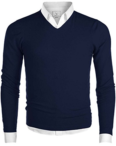 Lightweight V-neck Sweater (Men's V-Neck Long Sleeve Regular Fit Pullover Cotton Casual Sweater Navy X-Large)