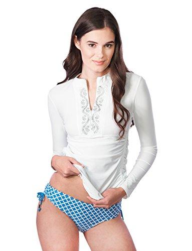 Cabana Life Women's Embroidered Rashguard, White, Medium by Cabana Life (Image #3)