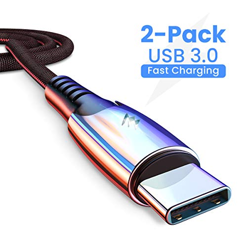 C Type Charger Fast Charge USB 3.0/2 Packs / 6.6FT AINOPE USB C Cable, Durable Zinc Alloy Fabric Braided Note 8 Charger Compatible with Samsung Galaxy S10 S10p S9 S8 Note 9 8 LG V20 V30 G5 (Samsung Note 3 Vs Iphone 6 Plus)