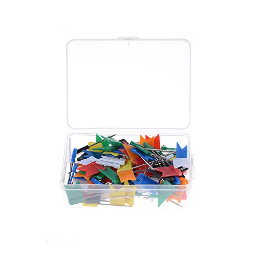 100pcs Color Flag Push Pins Office Home School Supplies Cork Board Map Drawing hot sale