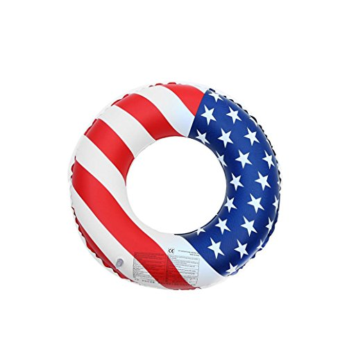 Price comparison product image Boofab Inflatable Swim Ring Pool Float with integrated built-in Inflator Inflatable US Flag Swim Ring Simply Adult Fruit Swim Ring pool-party Water Fun(latest hottest) (70cm)