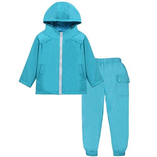 LZH Boys Waterproof Hooded Raincoat Jacket Dinosaur Coat+Pants Suit (4T(for Age 4-5Y), Sky (Hooded Waterproof Suit)