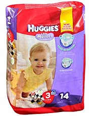 Huggies Little Movers Diapers Size 3 16-28 LBS - 14 ct, Pack of 2