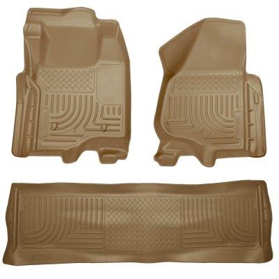 Husky Liner WeatherBeater Front & 2nd Seat Floor Liner Set - Tan for SuperCrew Cab (Center Floor Tan Hump Cab)