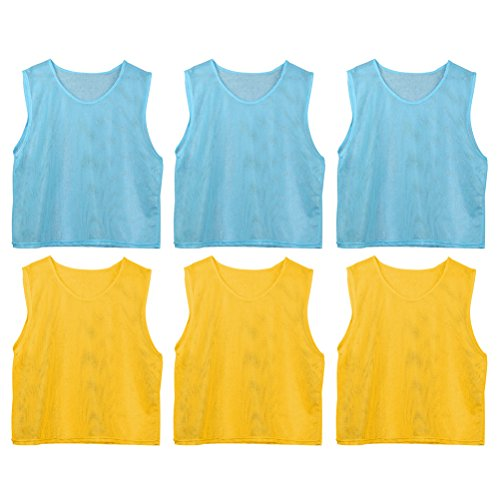 WINOMO 6 Pcs Football Team Scrimmage Practice Vests Mesh Soccer Training Bids for Youth(Yellow And Light Blue) by WINOMO