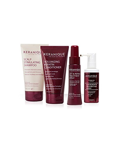 Keranique 30 Day Hair Regrowth System (Scalp Stimulating Shampoo and Volumizing Keratin Conditioner 4.5 oz, Lift and Repair Treatment Spray 2.0 oz and Hair Regrowth Treatment 2.0 oz)