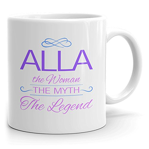 Alla Coffee Mugs - The Woman The Myth The Legend - Best Gifts for Women - 11oz White Mug - Purple