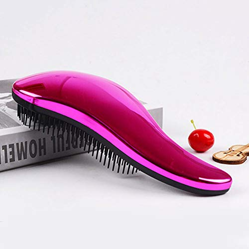 Electroplated Salon Styling Tools Massage Comb Hair Care Long Handle Anti Static (Colors - Amaranth)