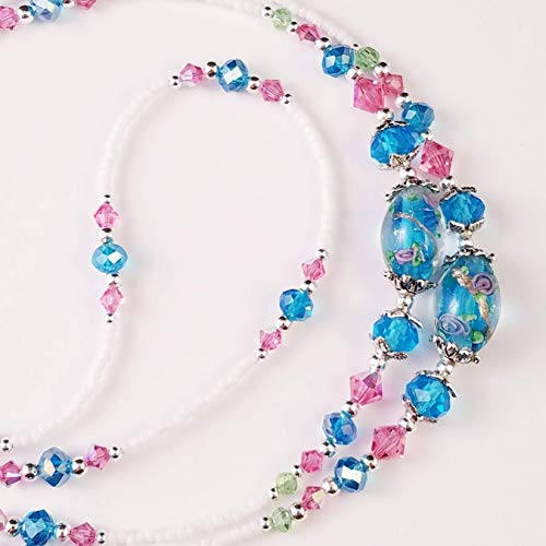 (Turquoise Blue and Pink Roses, Beaded Lanyard for Women, Badge, ID Holder, Keychain, Lanyard for Teacher, Nurse or Office, Teacher Gift, Nurse Gift, 32 inches, Lampwork Beads, Crystal, Handmade)
