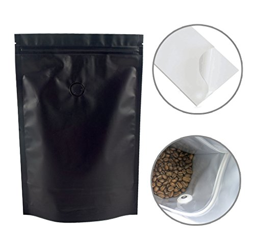 1 Lb Foil Bag (SMYLLS 16 oz(1 Lb) High Barrier Stand-up Food Pouch Zip lock Zipper Foil Lined Coffee Storage Bags with Degassing Valve (10, Matte Black))