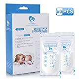 Bellababy Breast Milk Storage Bags 60 Count Food Grade BPA Free Self-Stand Leakproof Wide and Small Spouts