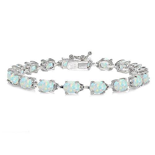 Opal Bracelets Oval (Sterling Silver Simulated White Opal 7x5mm Oval Classic Link Tennis Bracelet)