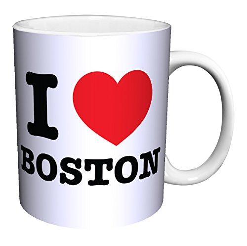 I Heart Boston (Massachusetts) Novelty City Pride Quote Decorative Ceramic Gift Coffee (Tea, Cocoa) 11 Oz. (Boston Mug)