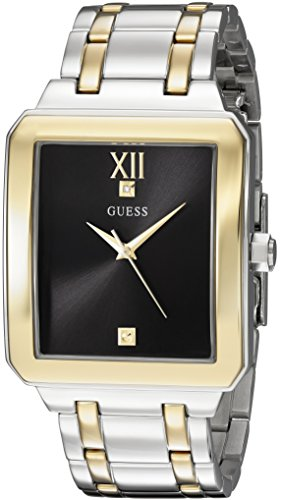 GUESS Men's U0917G3 Dressy Silver-Tone & Gold-Tone Watch with Plain Black Dial  and Stainless Steel Band