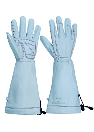 LilGardens Long Cuff Garden Gloves Top Grain Cowhide Puncture Resistant Water Resistant (Large)
