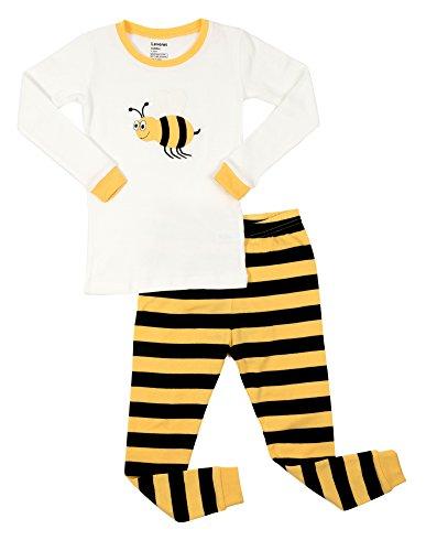 Leveret Kids & Toddler Pajamas Boys Girls Unisex 2 Piece Pjs Set 100% Cotton (Bumble Bee, Size 4 -