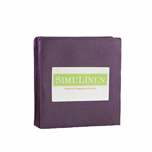 "SimuLinen Cocktail & Party Napkins – PLUM Beverage Napkins – Decorative, Absorbent, Cloth Like & Disposable – (10""x10"" – Pack of 250) -"