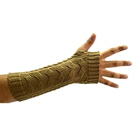 OCTAVE® Womens Ladies Knitted Long Fingerless Arm Wrist Warmers With Thumb Hole