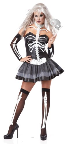 [California Costumes Women's Platium Collection - Skeleton Masquerade Adult, Black/White, X-Small] (Bones Adult Skeleton Costumes)