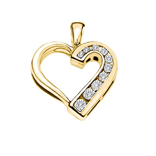 14k Yellow Gold 14k Yellow gold Traditional Heart Shaped Pendant with Chain Charm set with Diamonds G-H I2-I3 (0.25 ct. twt.) with Diamonds (0.25 ct. twt.) (14k Yellow Slide)