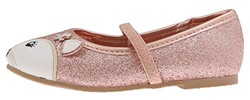 - Capelli New York Toddler Girls Glitter Flats with Embroidered Fox Face and 3D Ears Gold Combo 7