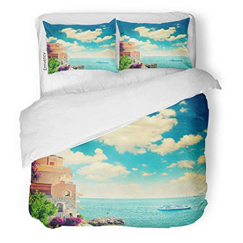 (MIGAGA Decor Duvet Cover Set Twin Size Beautiful Mediterranean Beach Landscape Provence French Riviera France Near 3 Piece Brushed Microfiber Fabric Print Bedding Set Cover)