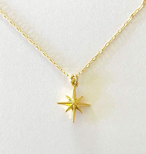 Woman's Dainty 3 Dimensional Gold Celestial Twinkle Star, North Plightsole Star, Asterisk Charm, Northern Star, Polaris Charm Necklace, Minimalist Style Jewelry Handmade -
