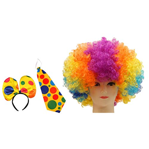 TOYANDONA 3pcs Clown Costume Clown Wig Head Band Bow Tie Clown Dress Up Accessories for Halloween Cosplay Performance Party Decor]()