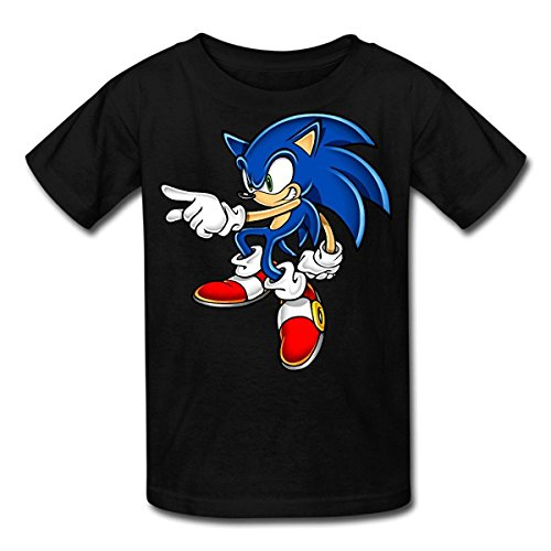 Kid's 100% Cotton Sonic Art Assets Dvd Sonic The Hedgehog 16 Fashion T-Shirt Black US Size -