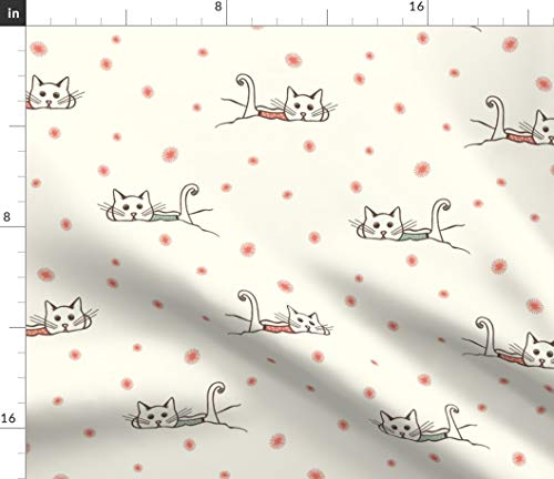 Cats in Snow Fabric - Kawaii Kitty Cat Snow Winter Holiday Cute Winter Snowy Cat Kitten Snowflakes Print on Fabric by The Yard - Sport Lycra for Swimwear Performance Leggings Apparel Fashion