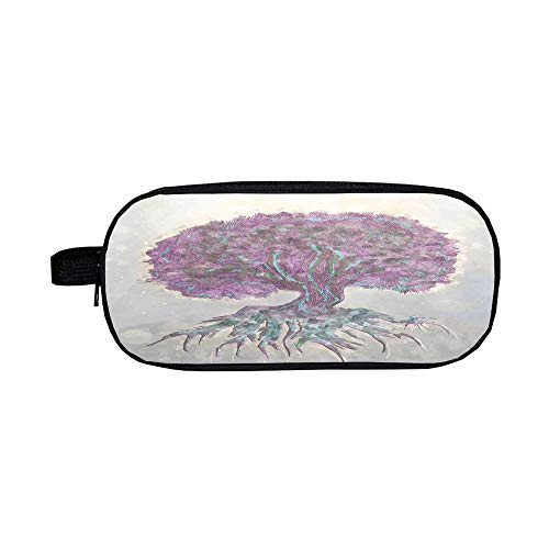 Pencil case High-Capacity,Tree of Life,Watercolors Style Print of Old Plant with Bokeh Lights Majestic Roots Nature,Grey Purple,Diversified Design -