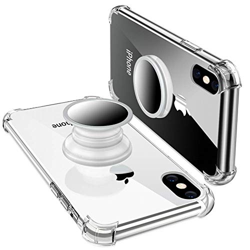 iPhone XR Case with Stand,iPhone XR Case Clear,Yetolee Premium Soft TPU Protective Shockproof Case with Kickstand Grip Iron Mirror [Fit Car Mount] for iPhone XR 2018 Clear