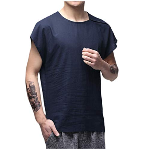 iZZZHH Men's Fashion Casual Slim Fit Short Sleeve O-Neck Solid Shirt Top Blouse(Blue,XL)