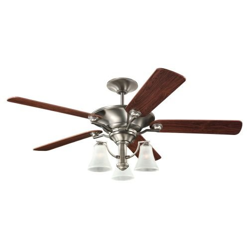 56 Antique Nickel Finish (Sea Gull Lighting 15170B-965 Somerton Three-Light 56-Inch, 5-Blade Ceiling Fan, Teak Wood Grain and Antique Brushed Nickel Finish)