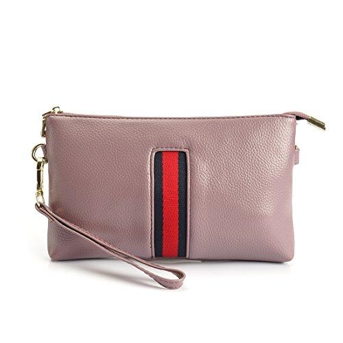 Bag Purse Purple Shoulder Wrislet Light Wallet SEALINF Handbag Cross Small Womens Clutch Leather Body qf0pYg