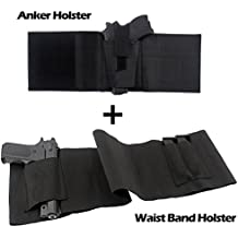 Gzero concealed gun ankle pistol holster arm universal use elastic wrap adjustable tactical belly band waist magazine pouches - abdominal for men women