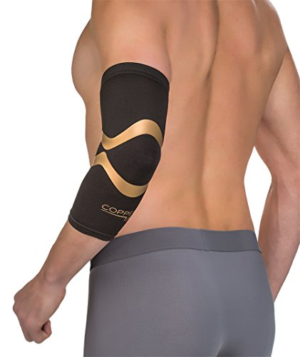 Copper Fit CFPROEL Pro Series Performance Compression Elbow Sleeve, Black with Copper Trim, Medium