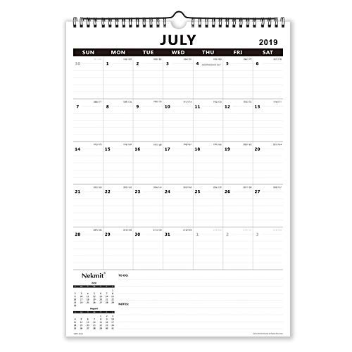 Nekmit 2019-2020 Academic Year Monthly Wall Calendar, 17 x 12 inches, Wirebound, Black
