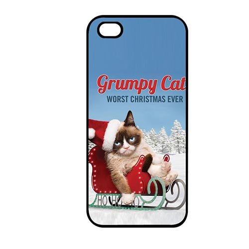 Coque,Phone Case Covers Cool Coque iphone SE & Coque iphone 5 & Coque iphone 5S Hard Casing(Grumpy Cat Christmas)