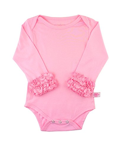 (RuffleButts Baby/Toddler Girls Pink Ruffled Long Sleeve Layering Bodysuit - 18-24m)