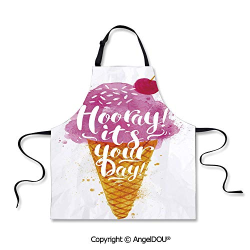 SCOXIXI Waterproof Kitchen Aprons Woman Adult Hooray! Its Your Day Phrase with Ice Cream Cone Cherry Flavor Decorative Home Cooking Baking Waist Bib.