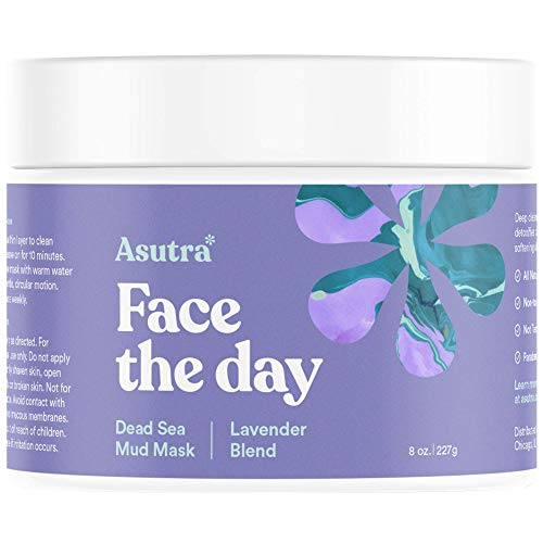 Asutra, Organic Dead Sea Mud Mask, Lavender + FREE Applicator Brush, Combat Acne, Oily Skin and Blackheads, Minimize Pores, For Smooth, Beautiful and Healthy Looking Skin, 8 oz.