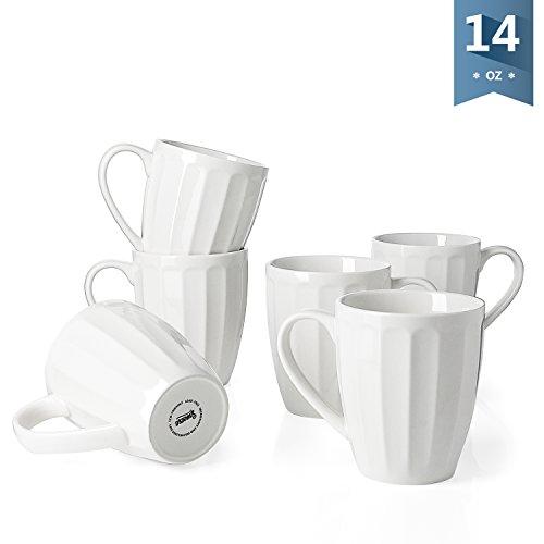 Sweese 6208 Porcelain Fluted Mugs - 14 Ounce for Coffee, Tea, Cocoa, Set of 6, White (White Porcelain Coffee Mug)