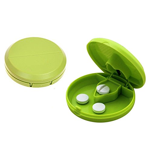 Pill Cutter, 2-in-1 Portable Round Splitter with Plastic Organizer and Stainless Steel Blade for Easily Crushing and Storing Tablet (Green, Set of 2)