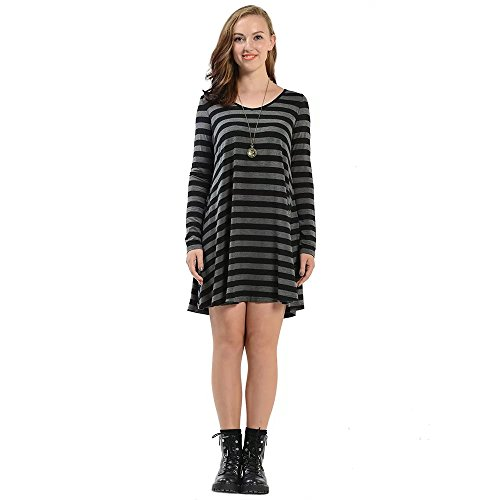 V Neck Striped Dress (Black) - 5