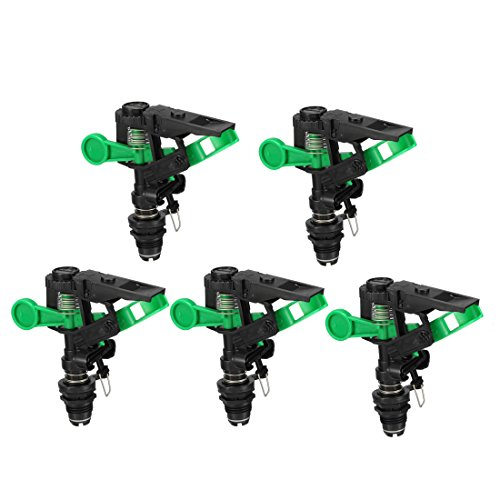 (uxcell Impact Head Sprinkler, Adjustable 0-360 Degree Pattern, 10.5M-18.5M Spray Distance, 5 Pack)