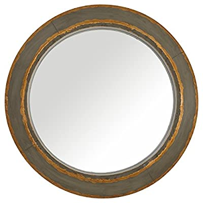 "Stone & Beam Round Distressed Metal Mirror, 36""H, Tin and Gold Finish - Distressed tin accented with brushes of dark gold create a vintage feel. This round metal mirror will blend with any style. 36"" Diameter Rustic distressed metal - bathroom-mirrors, bathroom-accessories, bathroom - 410iOyH3CKL. SS400  -"